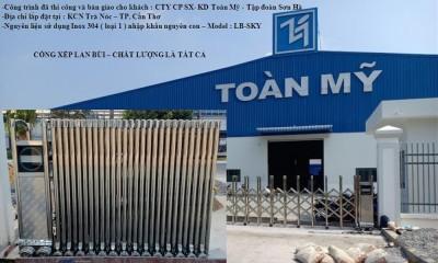 Cổng xếp tự động bằng inox- Trúng thầu nhà máy Toàn Mỹ, Cần Thơ
